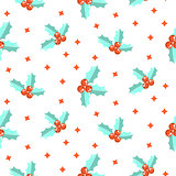 New Year holly berry seamless vector pattern.