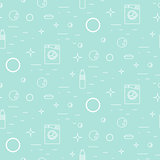 Washing machine and soap bubbles thin line seamless pattern.