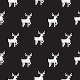 Deer black and white kid silhouette pattern.