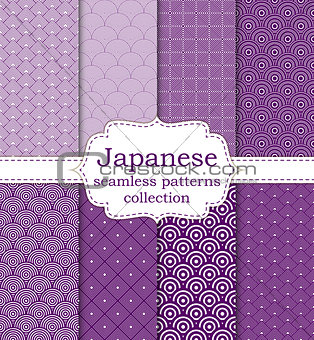 10 different Japanese asian seamless patterns