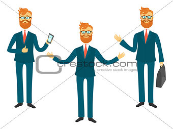 Businessman cartoon character in different poses for business presentation vector set. Successful man shows and tells illustration