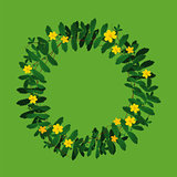 Plant flower wreath border frame decoration on green