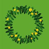 Plant flower wreath border frame decoration on green