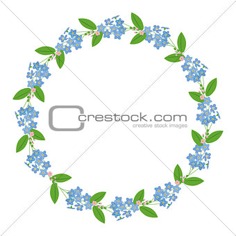 Myosotis forget-me-nots floral plant decor border wreath dark