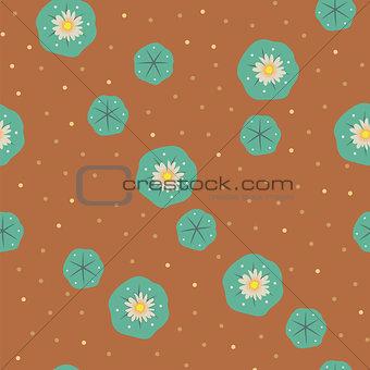 Vector peyote lophophora cactus seamless pattern