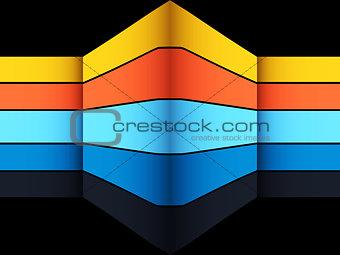3D multicoloured geometric striped structure