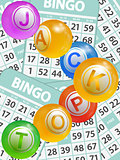 Bingo jackpot balls over cards background