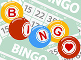 Drawing style bingo balls over green cards background
