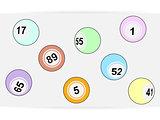 Simple bingo lottery balls over white