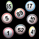 Simply 3D bingo lottery numbers over black