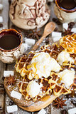 Waffers with ice cream and honey