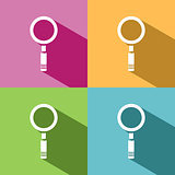 Magnifying glass icon with shade on colored background