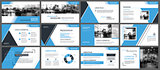 Blue presentation templates and infographics elements background