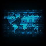 Vector technology digital world map.