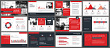 Red presentation templates and infographics elements background.