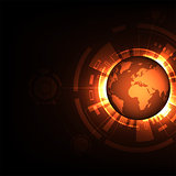 World on a dark orange background.