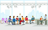 Group of people at office workplace, illustration