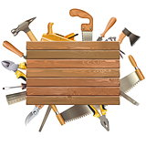 Vector Wooden Board with Hand Tools