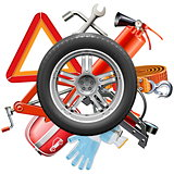 Vector Wheel with Car Accessories