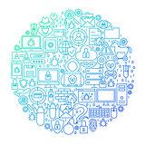 Internet Security Line Circle Design