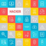 Vector Line Hacker Icons
