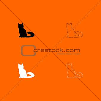 Cat   black and white set icon .