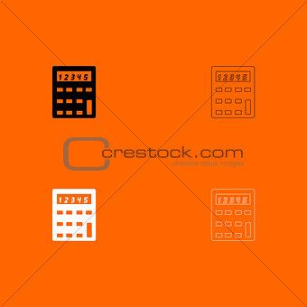 Calculator  black and white set icon .
