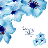 Greeting card with flowers in watercolor