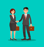 Background vector business cooperation handshake two business partners vector illustration of a flat design