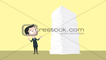 business man with a lot of paper work stack