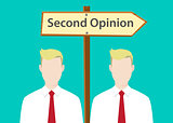 second opinion sign illustration with two people with signboard as background