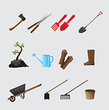 Agricultural tools vector set.