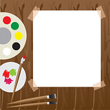 Art palette with paint Vector illustration.