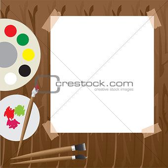 Art palette with paint Vector illustration.