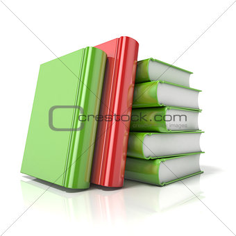 Green books with one red book. 3D