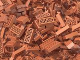 Heap of falling, flying, scattered bricks background. 3D