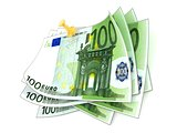 Pinned one hundred euros bills on white background. 3D
