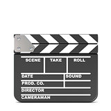 Movie clapperboard, closed. 3D