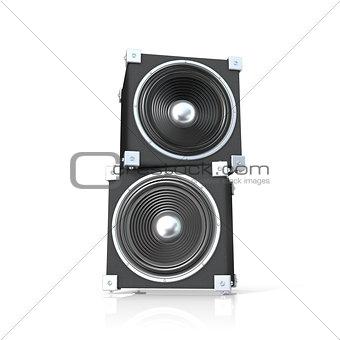Pair of sound speakers. 3D