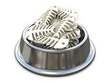 Chrome cat bowl with bones. 3D
