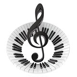 Treble clef in abstract piano keyboard. Symbol of music. 3D
