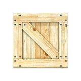 Wooden box. Front view. 3D
