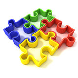 Four colorful outlined jigsaw puzzle pieces, banded