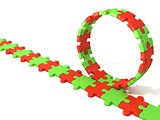 Puzzle ring rotating over puzzle chain