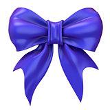 Blue, violet glossy ribbon bow. 3D