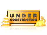 Under construction sign. 3D