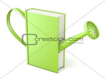 Green watering can book. Concept of education and knowledge. 3D