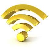Wireless network 3D golden sign