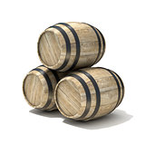 Group of wooden wine barrels. 3D