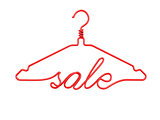 Red wire clothes hangers with message - SALE. 3D
